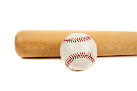 homerun: A baseball and wooden bat on a white background