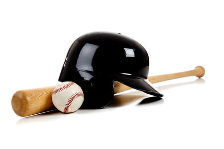 equipment: Assorted baseball equipment on a white background including a batting helmet and wooden bat and a leather baseball