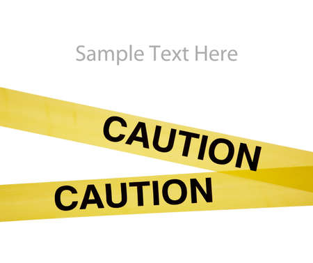 signos de precaucion: Cinta de precauci�n amarillo sobre un fondo blanco con espacio de copia