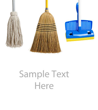equipment: Blue and yellow sponge mop, broom and string mop on a white background