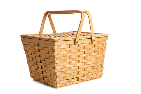 basket: A wicker picnic basket on a white background