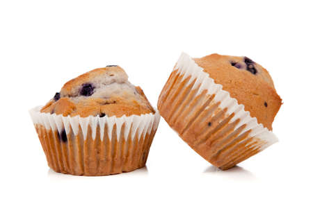 Blueberry muffins on a white background  photo