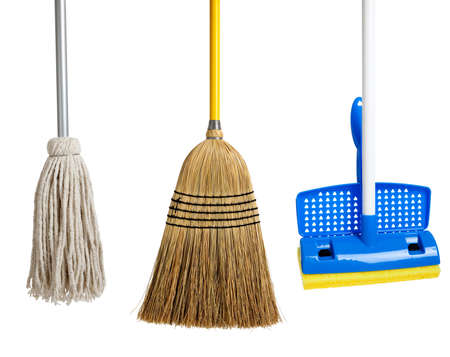 Blue and yellow sponge mop, broom and string mop on a white background Stock Photo - 6048127