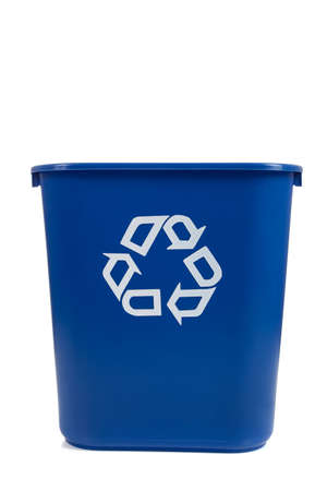 A blue recycle can  on a white background with copy space photo