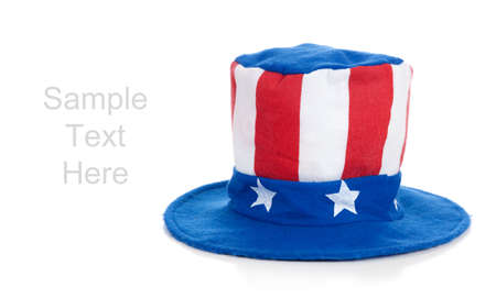 A 4th of July Uncle Sam hat on a white background with copy space Stock Photo - 6070025