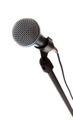 A microphone on the stand on a white background with copy space photo