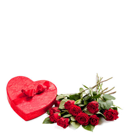 A Valentines Day Heart and roses on  a white background with copy space Stock Photo