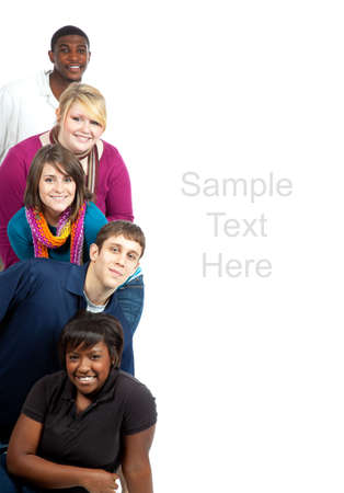 A stack of multi-racial college student on a white background with copy space