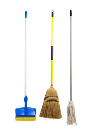 Blue and yellow sponge mop, broom and string mop on a white background photo