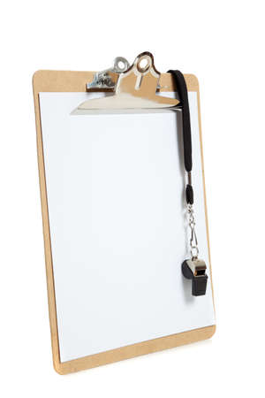 A clipboard with a black whistle with a plank page on a white background photo