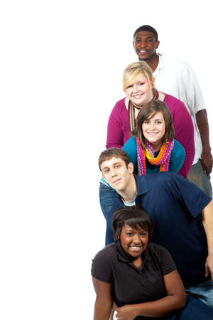 multi race: A stack of multi-racial college student on a white background with copy space
