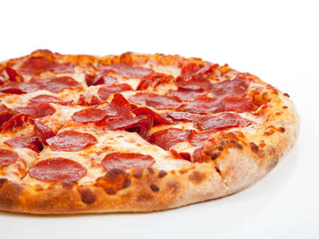 slice of pizza: A Pepperoni pizza  on a white background