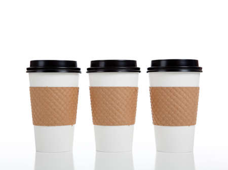 coffee cups: A row of paper coffee cups on a white background