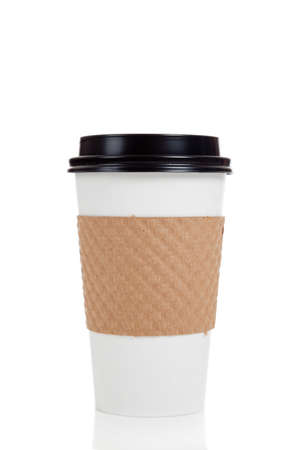 cup: A row of paper coffee cups on a white background