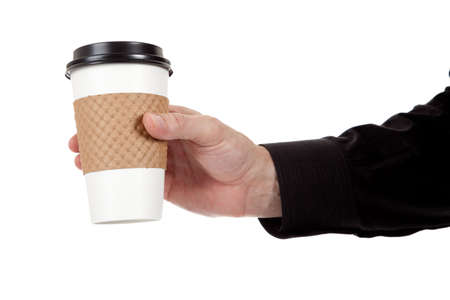 disposable cup: A man holding a paper coffee cup on a white background