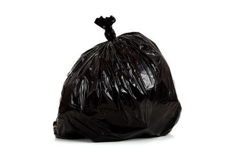 black plastic garbage bag: A black plastic garbage bag on a white background