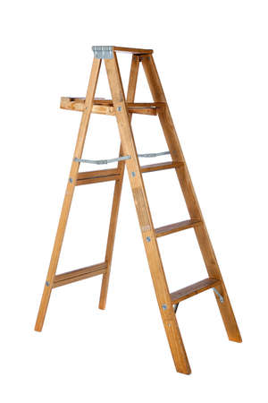 step ladder: A wooden stepladder on a white background with copy space