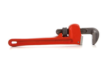 An orange pipe/monkey wrench on a white background