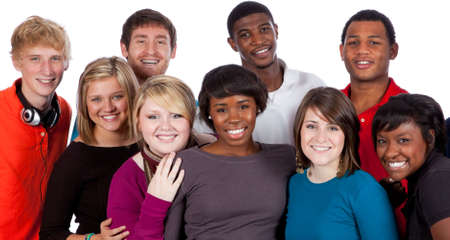 multi race: A multi-racial group of college students on a white background