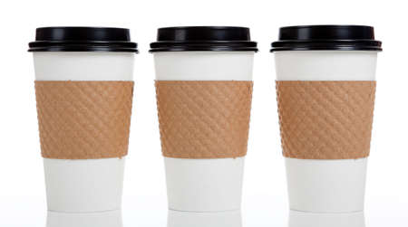 disposable cup: A row of paper coffee cups on a white background