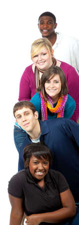 A stack of multi-racial college students on a white background photo