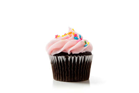 Pink chocolate cupcakes on a white background with copy space