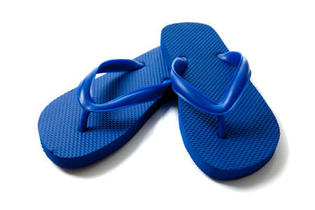 flip flops: a pair of blue flipflops on a white background Stock Photo