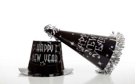 A Black New Year's eve hat on a white background