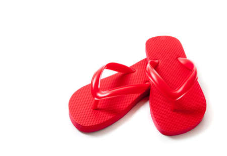 REd flipflops on a white background