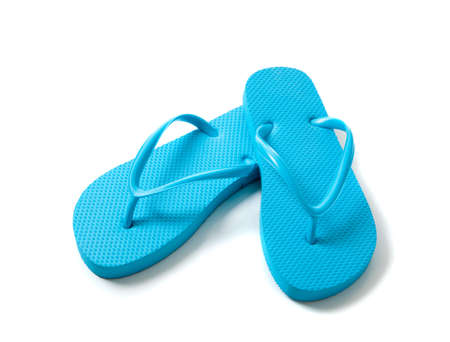 blue flipflops on a white background