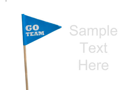 Blue Go Team sports pennants on a white background with copy space Stock Photo