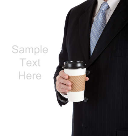 A business man holdling a cup of coffee on a white background with copy space