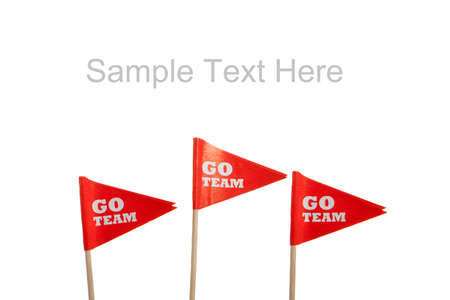 Red Go Team pennants on a white background with copy space
