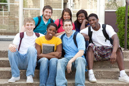 młodzież: Multicultural College studentów, samiec i samica Zdjęcie Seryjne