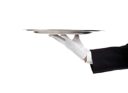waiter serving: A white gloved hand holding a silver tray