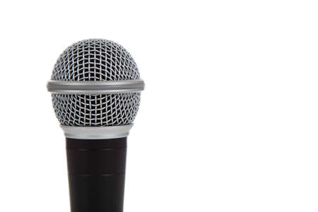 Een enkele microfoon op een witte achtergrond Stockfoto