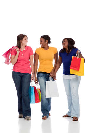shoppings: Multicultural College students with shoppings bags, females Stock Photo