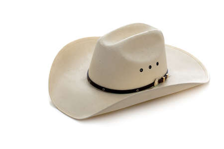 rodeo cowboy: A white cowboy hat on a white background Stock Photo