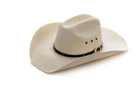 sombrero: Un sombrero de vaquero blanco sobre un fondo blanco Foto de archivo