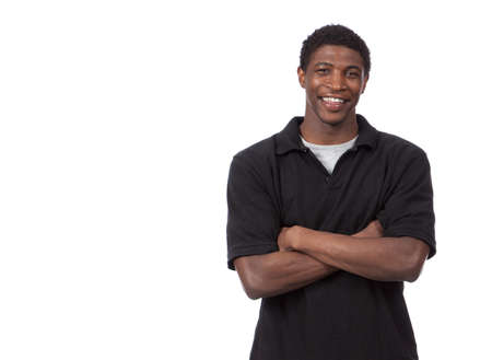 african american man: Young African American Male on a white background Stock Photo
