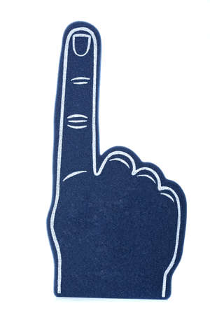 foam hand: A blue foam finger, sports memorbalia signifying we are number 1! Stock Photo