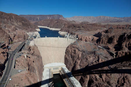 meade: The historic Hoove Dam on a the Colorado River and Lake Meade Arizona