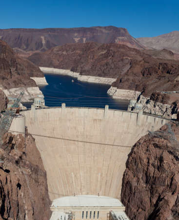 hoover: The historic Hoove Dam on a the Colorado River and Lake Meade Arizona