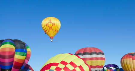 ballooning: Colorful hot air balloons on a sunny day