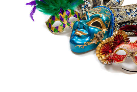 A group of mardi gras or carnival masks on a white background 스톡 콘텐츠