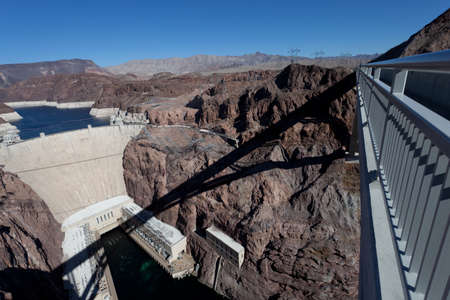pat: View of the Hoover Dam and the Mike O Callaghan Pat Tillman Memorial Bridge