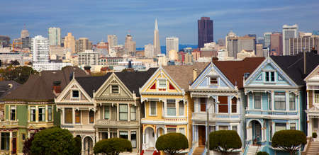referred: Famous Victorian row houses in San Francisco with skyline   Houses referred to as the painted ladies