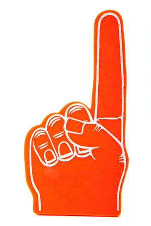 foam hand: Orange foam spirit finger signifying we are number 1 pointing up Stock Photo