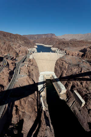 The historic Hoove Dam on a the Colorado River and Lake Meade Arizona