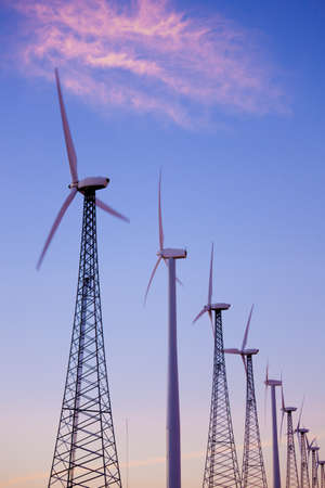 produce energy: A group of wind turbines or windmills in the dessert of southern California Stock Photo